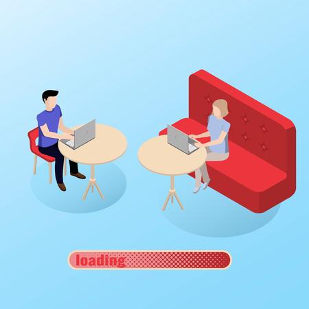 man en een meisje kennen op de site die in de chat chatten. Online dating