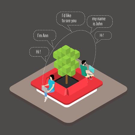 Online dating, een jongen en een meisje kennismaken op de site die chatten in de chat Vector Illustratie