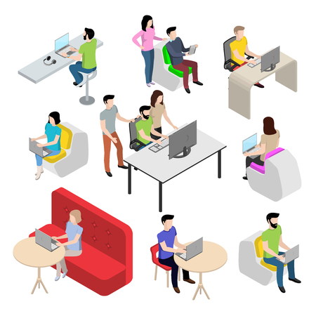 woman laptop: Set of characters in the isometric style, people work at the computer, modern young people in the office
