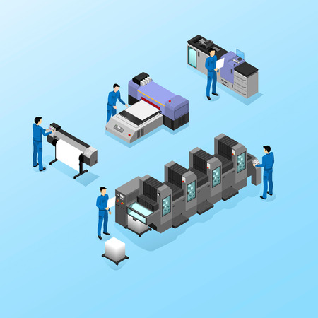 Professional equipment for various types of printing in the field of advertising, offset and digital as well as inkjet and ultraviolet printing, workers are servicing machines in production Vectores