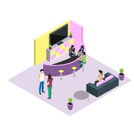 Reception in isometric style, modern young people in the interior of the office or salon