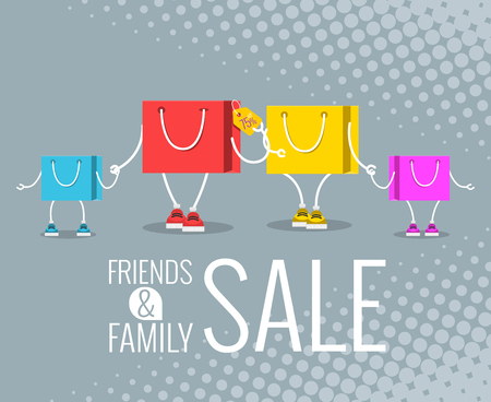 supermarket: friends & family sale, Sale at low prices, Cartoon shopping bag with a smile