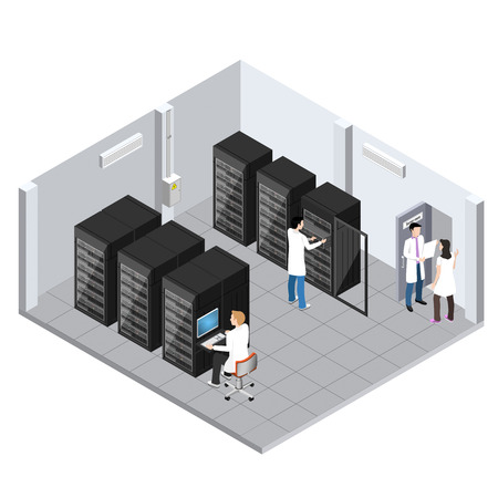 Server room isometric image, information storage and processing room, technical personnel serves server equipment