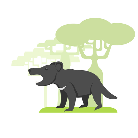Animal called Tasmanian devil, flat image on white background, silhouettes of trees Imagens - 84219383