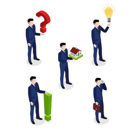 Man in a business suit, icons of people in different situations. Isometric style illustration. Illustration