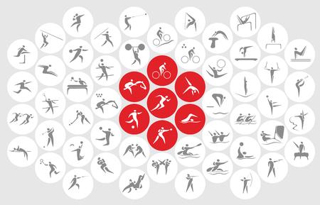 새로운 스포츠 아이콘과 스포츠 기호, 일본의 국기.