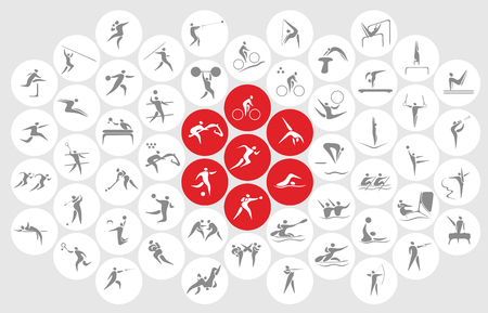 New sports icons and sports symbols, the flag of Japan. Illustration