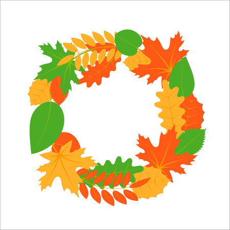 Set of autumn leaves stacked in a wreath, simple flat image Illustration