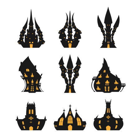 Halloween castle set for Halloween on a white background Illustration