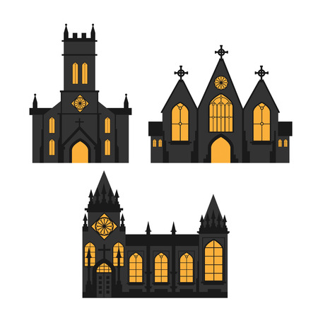 A church silhouettes on white background  イラスト・ベクター素材