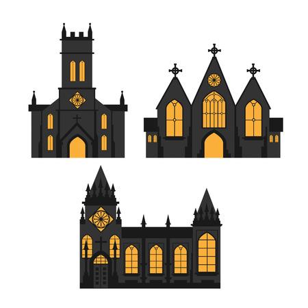 Un silhouettes de l & # 39 ; église sur fond blanc Banque d'images - 94128003