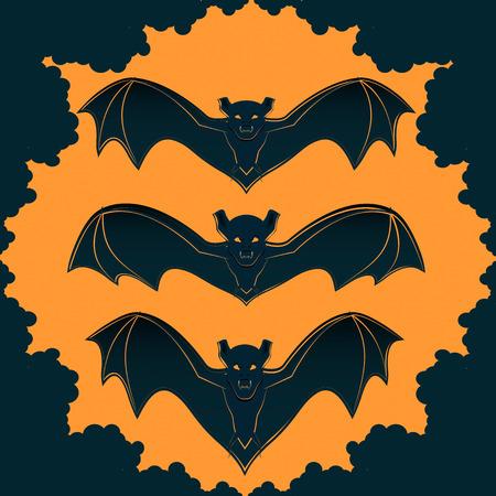 The design of the cover or leaflets for the celebration of Halloween, bat against the backdrop sun Illusztráció