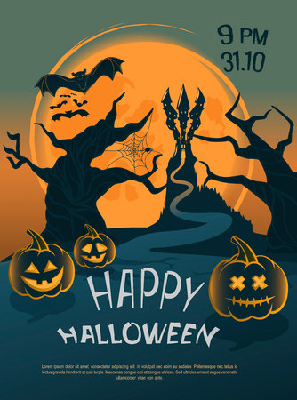 The design of the cover or leaflets for the celebration of Halloween, against the backdrop of a bright moon, you can see a castle on a rock, a tree with a cobweb and a bat Illusztráció