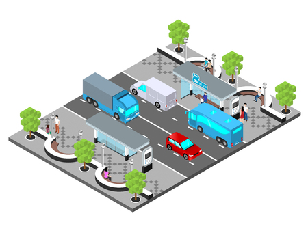 City road, the central boulevard of the city, cars are driving along the road isometric illustration.  イラスト・ベクター素材