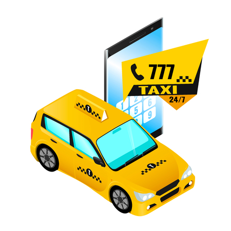 Taxi order by phone, smartphone and car isometric style.