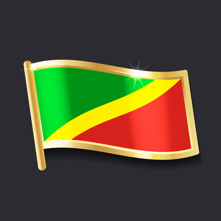 flag of Congo in the form of badge, flat image