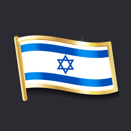 A flag of Israel in the form of badge on flat image Illustration