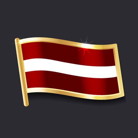 flag of  Latvia in the form of badge, flat image