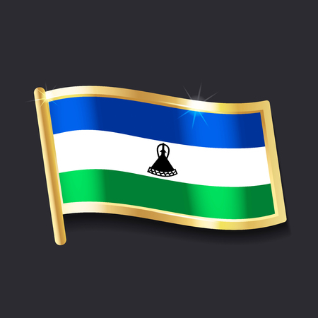 flag of  Lesotho in the form of badge, flat image