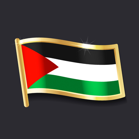 Flag of Palestine in the form of badge, flat image 일러스트