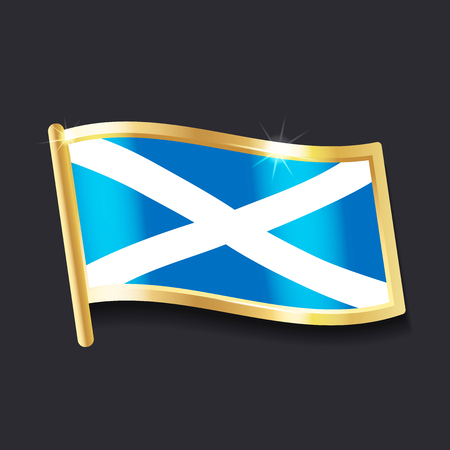 flag of Scotland in the form of badge, flat image Illustration