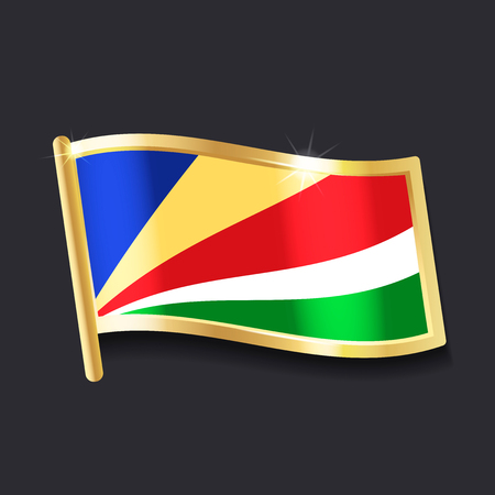 flag of  Seychelles in the form of badge, flat image Çizim