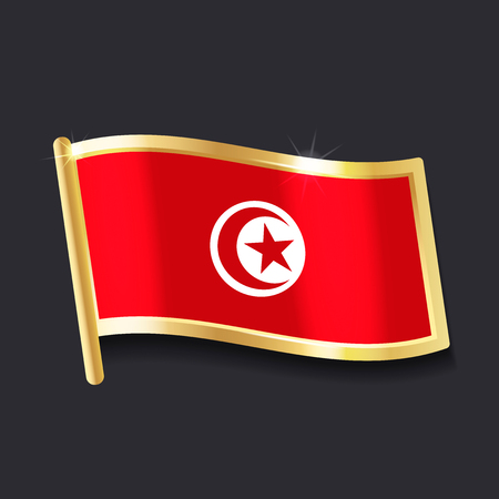 Flag of Tunisia in the form of badge, flat image