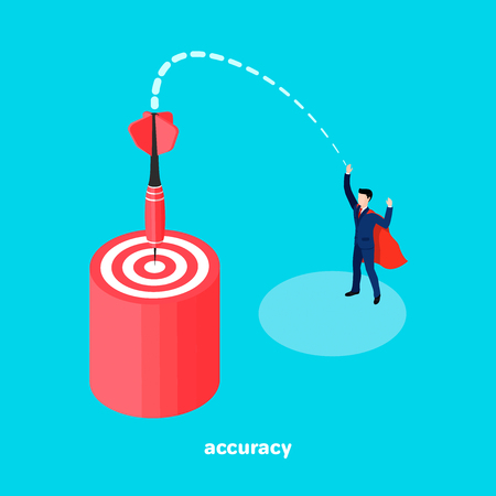 Target and dart, a man in a business suit made an accurate throw with a dart at the target, an isometric image Illustration