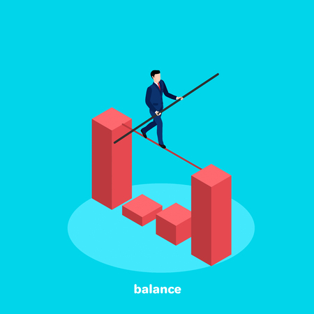 A man in a business suit walks along the rope stretched between the pillars of the chart, an isometric image.