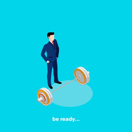 a man in a business suit stands next to the barbell, isometric image