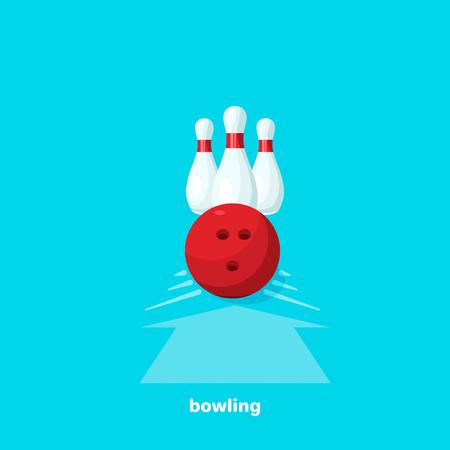 bowling ball and bowling pins, flat vector image Illustration