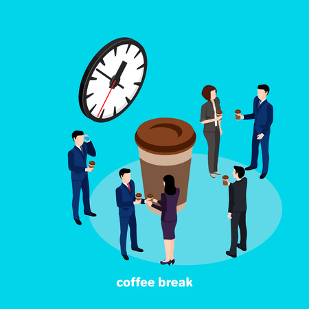 coffee break, business people drink coffee in the interval between work in the office, an isometric image