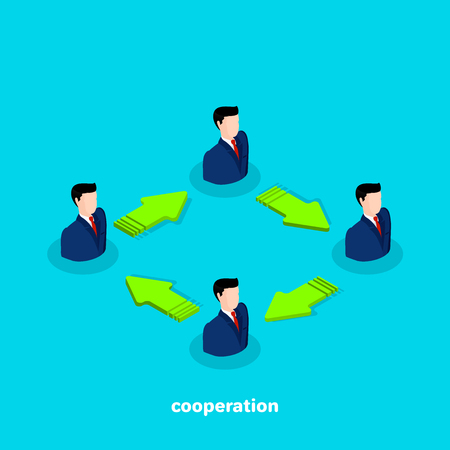 men in business suits and arrows connecting them, isometric business icon on cooperation