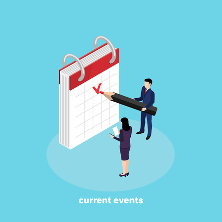 planning future events and marking in the calendar, an isometric image Ilustrace