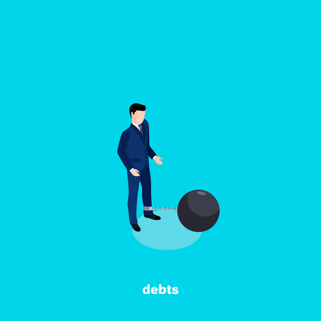 a man in a business suit with a core chained to his leg, debts in business, an isometric image Vector illustration. Stock Illustratie