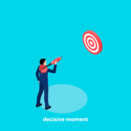 a man in a business suit is aiming with a dart at the target, an isometric image Vector illustration. Illustration
