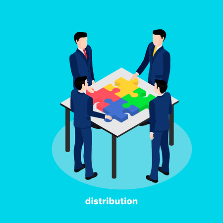 business people share the puzzle lying on the table, the image is isometric style Vector illustration. Illustration