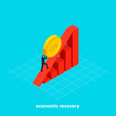 a man in a business suit rolls a coin to the top of the slide chart, economic recovery  isometric image Vector illustration.