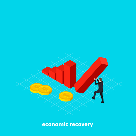 a man in a business suit holds a falling column with his hands, an isometric image Vector illustration.