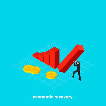 Un homme dans un costume d'affaires détient une colonne qui tombe avec ses mains, une illustration vectorielle d'image isométrique. Banque d'images - 95985607