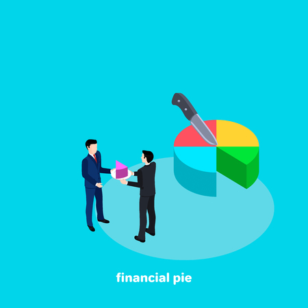A man in a business suit gives a piece of a financial pie to a colleague, a reward for the work done. Vectores