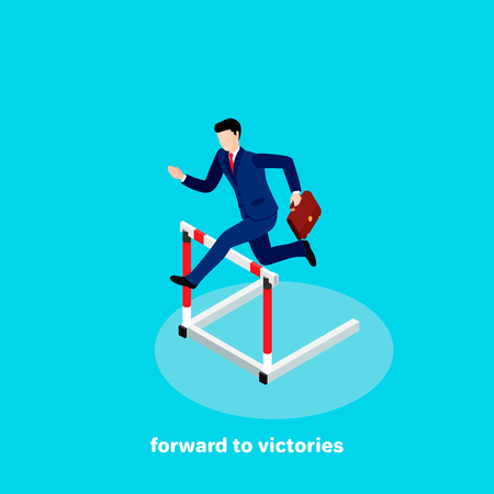a man in a business suit jumps over an obstacle, an isometric image
