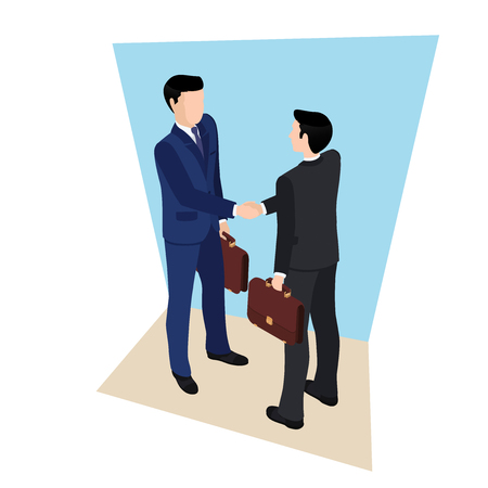 Handshake of two men in business suits with briefcases in hands Illustration