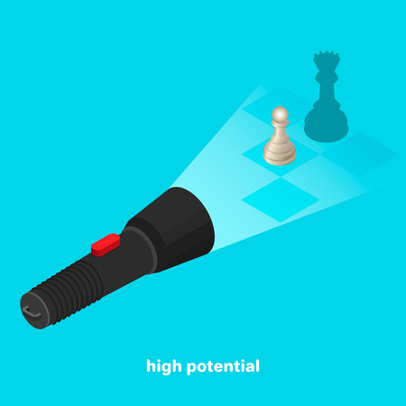 The potential of the pawn in chess, in the light of the flashlight the pawn throws out the queens shadow, the isometric image