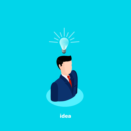 A man in a business suit with a light bulb over his head, there is an idea, an isometric image Illustration