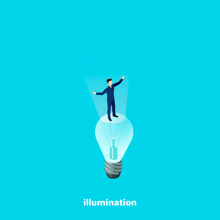 A man in a business suit is standing on a light bulb, isometric image