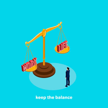 The man in a business suit is standing in front of the scales, on the scales of the word work and life, the image is isometric style