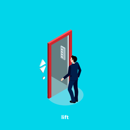 A man in a business suit enters an opened elevator, an isometric image Illustration