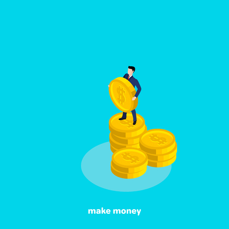A man in a business suit holding a large coin with a dollar sign, an isometric image