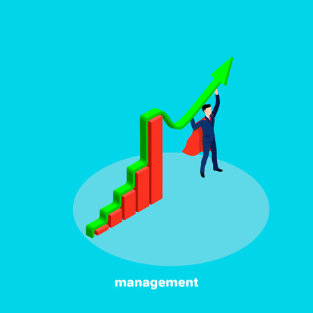 Pivot chart, man in business suit and red cape, isometric business icon on management